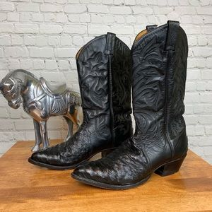 Tony Lama Men's Quill Ostrich Leather Boots 10D
